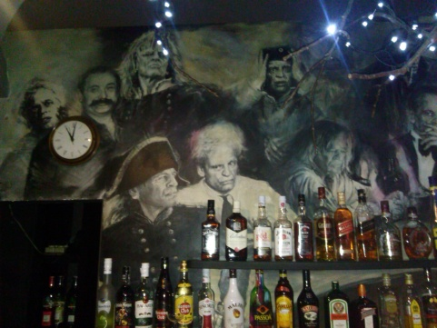 Behind the bar!